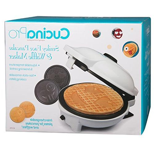Emoji Maker Plates - Choose Diameter Smiley Face Waffles OR Pan - Non-stick Iron