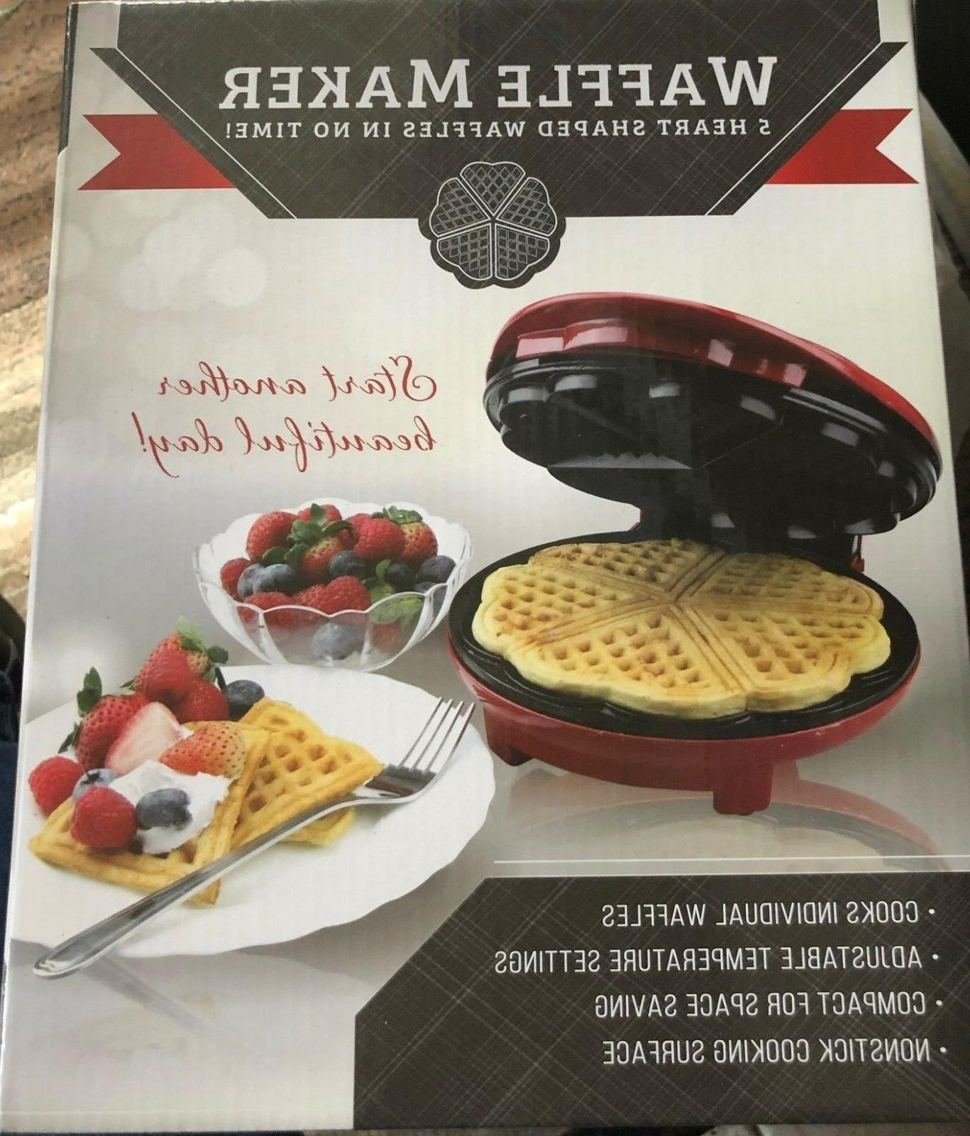 heart shape waffle maker red metallic