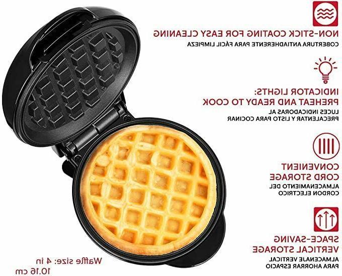 "HH-09125016B Personal Non-Stick Waffle Maker, 4"","
