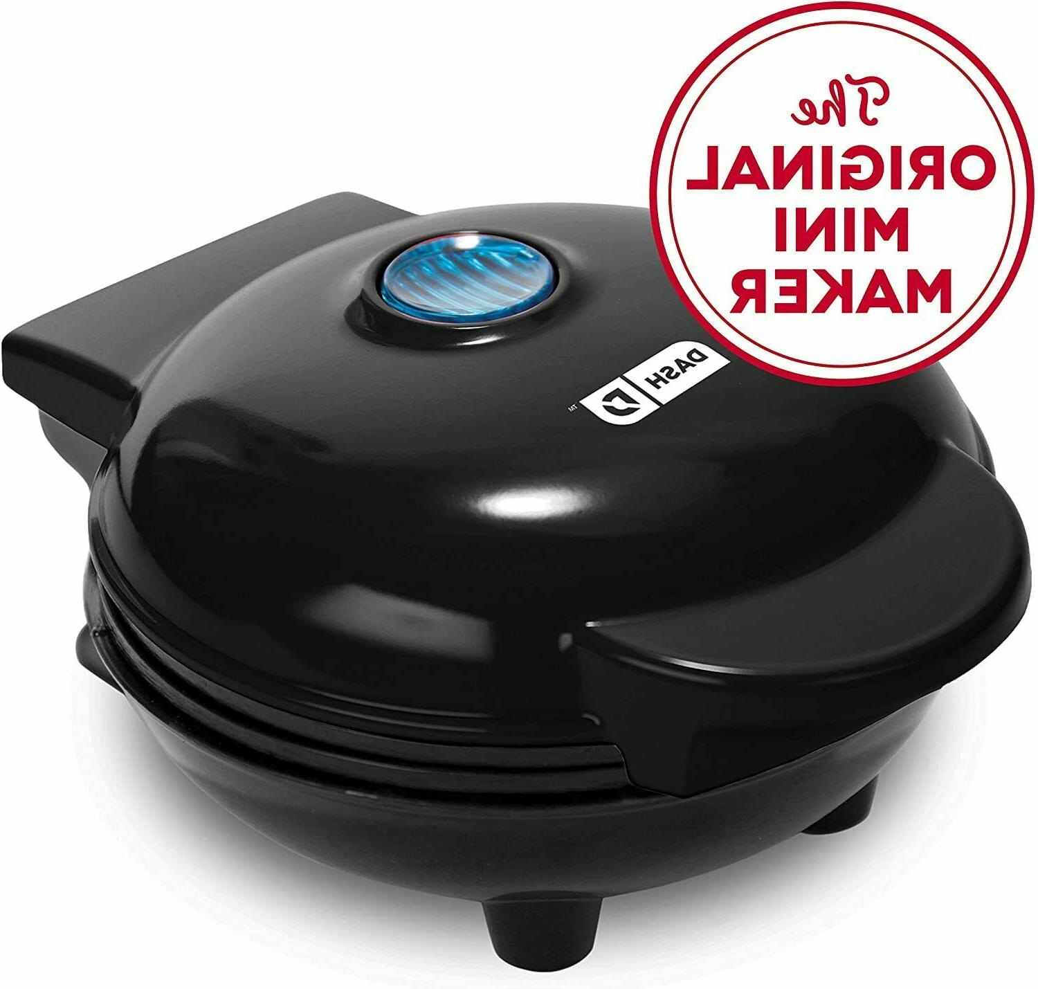 Black Mini Waffle Maker Machine for Individual Waffles, Pani