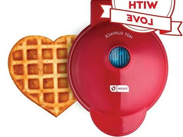 mini waffle machine maker red heart kitchen