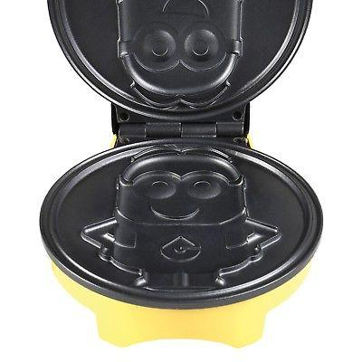Minions Dave Waffle Maker Iron - Non-Stick Electric Kitchen Appliance Yellow