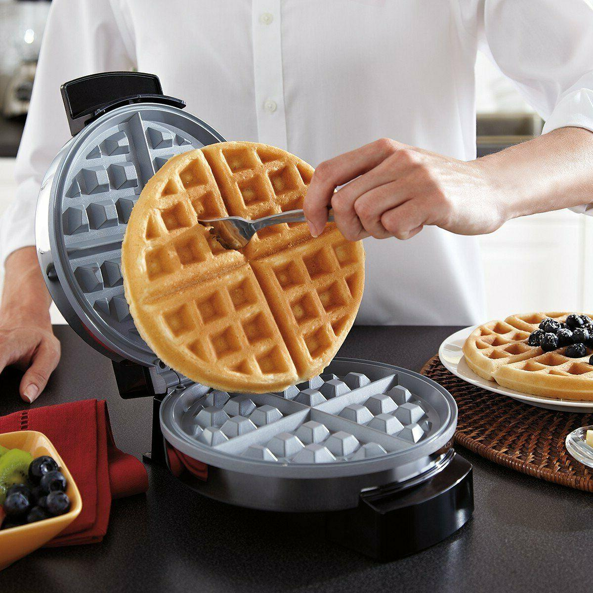 BELGIAN MAKER Rotating Non Cook Round Waffles Breakfast