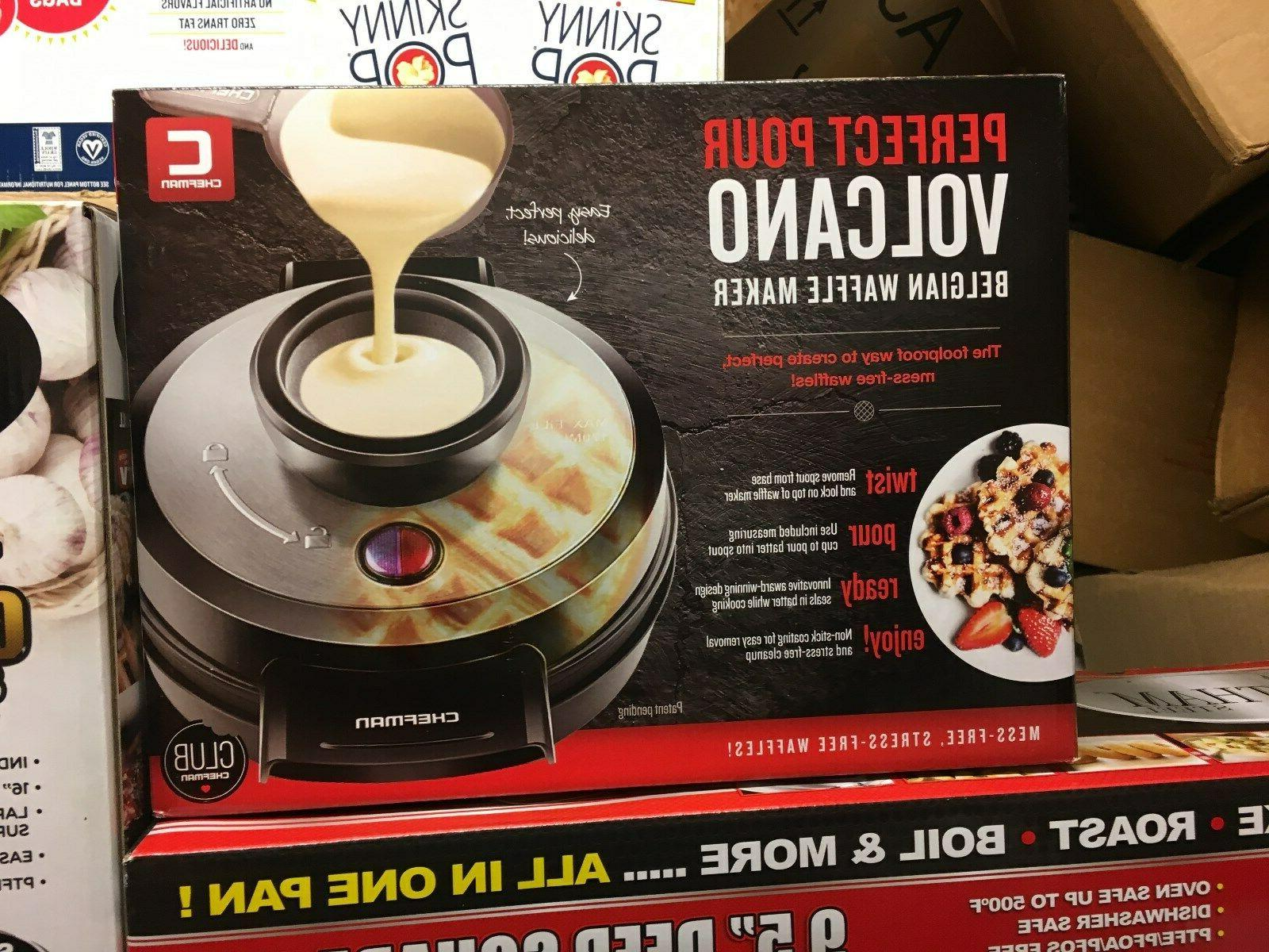 perfect pour volcano belgian waffle maker new