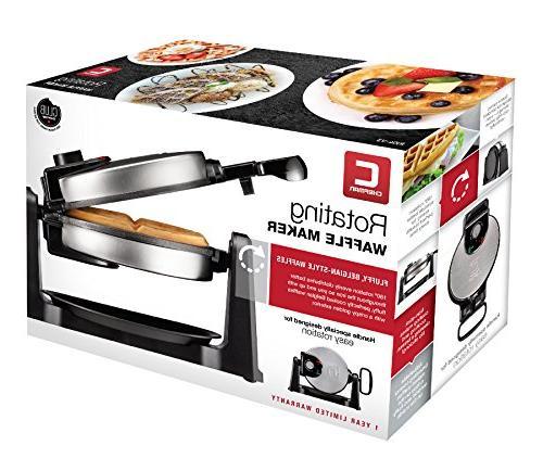 Chefman Maker 180° Single Flip Waffle Plates Creates Adjustable & Drip Plate,Stainless Steel