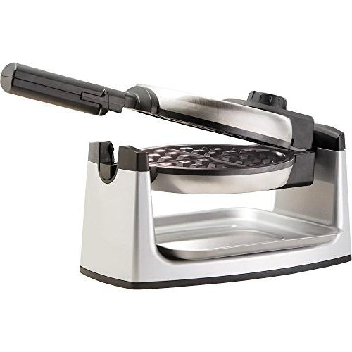 Chefman Rotating Maker Single Waffle w/Non-Stick Plates Creates Restaurant Adjustable Timer Lid Space Includes Drip