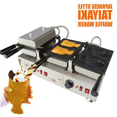 taiyaki ice cream fish waffle maker 110v