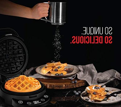 Chefman Pour Waffle-Iron Programmable Presets & Touchscreen Nonstick Cleaning & Cup