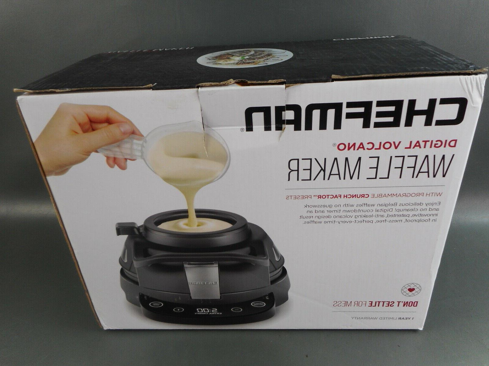volcano waffle maker black opened box