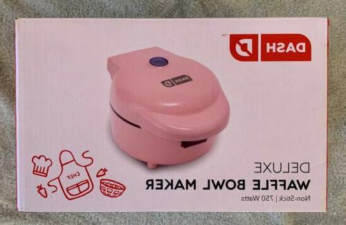 Dash Waffle Bowl Maker machine PINK round kitchen countertop