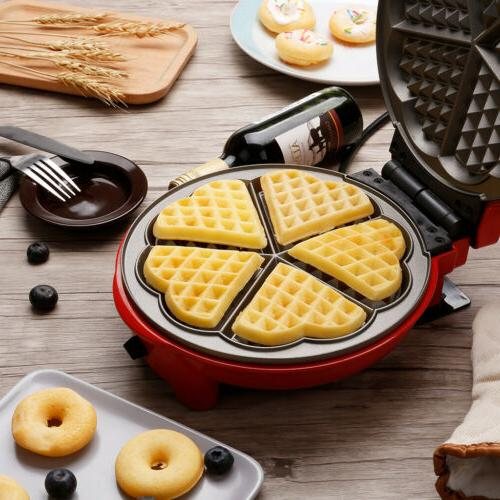 WAFFLE MAKER Commercial Steel Round Kitchen Iron Puffle