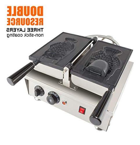 ALDKitchen Fish Maker 110V Commercial Use Jam or Cream Waffle Stainless Steel Taiyaki Maker