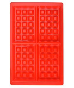 HOYATO Mini 4 Cavity Silicone Waffle Mold Maker/Pan Red Set