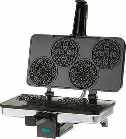 Mini Italian Pizzelle Waffle Maker Iron - Makes Four 3 1/4 I