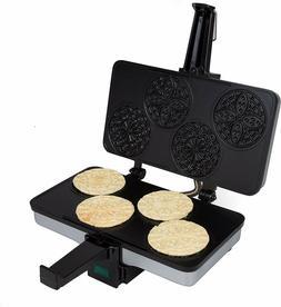 CucinaPro Mini Italian Pizzelle Waffle Maker Iron Makes Four