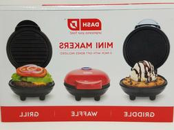 Dash Mini Makers Waffle Griddle Grill White Red Black BRAND