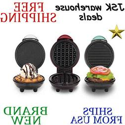 New DASH MINI MAKER 3pc Piece Griddle Waffle & Grill Set in