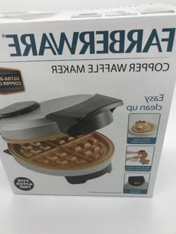 NEW Farberware Non-Stick Copper Waffle Maker Iron Griddle Br