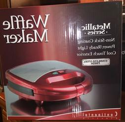 NEW Continental Electric Waffle Maker Metallic Series, Red,