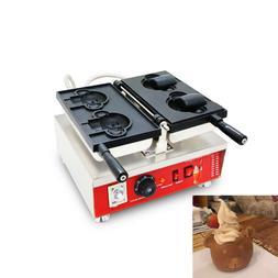 Nonstick Electric Ice Cream Cartoon Bear Waffle Maker Baker