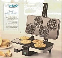 Pizzelle Maker- Polished Electric Pizzelle Baker Press Makes