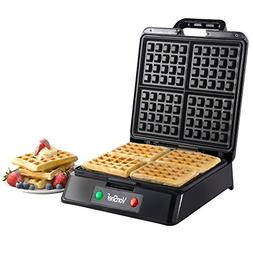 VonShef Quad 4 Slice Belgian Waffle Maker Iron Machine Black