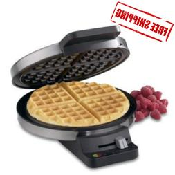 Round Classic Brushed Stainless Waffle Maker