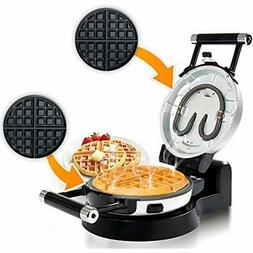 Upgrade Automatic Waffle Irons 360 Rotating Belgian Maker W/
