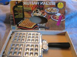 Vintage Nordic Ware Stovetop Belgian Waffler Maker Cast Alum