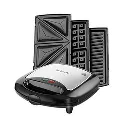 VonShef 220 240 Volts 3 in 1 Sandwich/ Panini Maker, Waffle